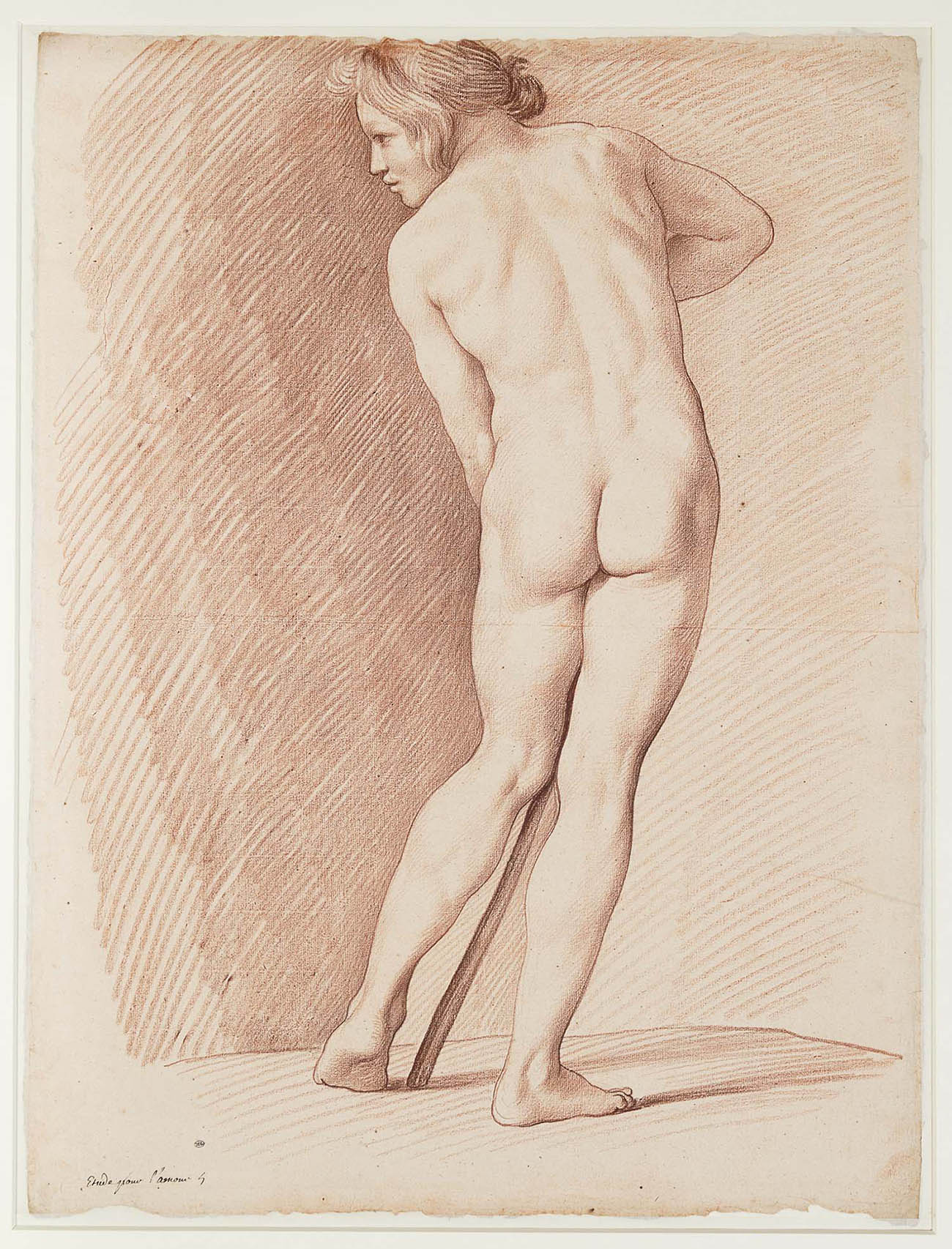 Red chalk drawing of a male nude model, shown from the rear, turning his head to the left