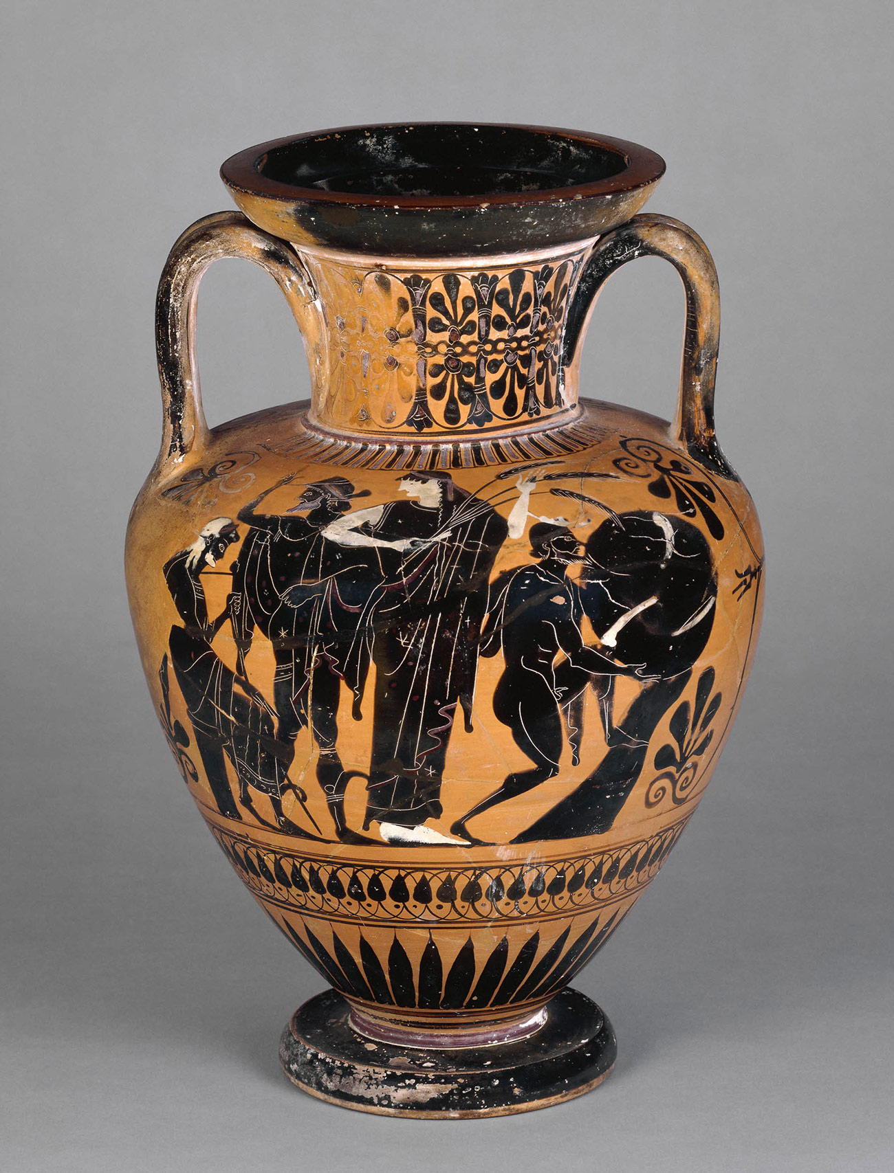 An ancient Greek black-figure vase with a neck and handles