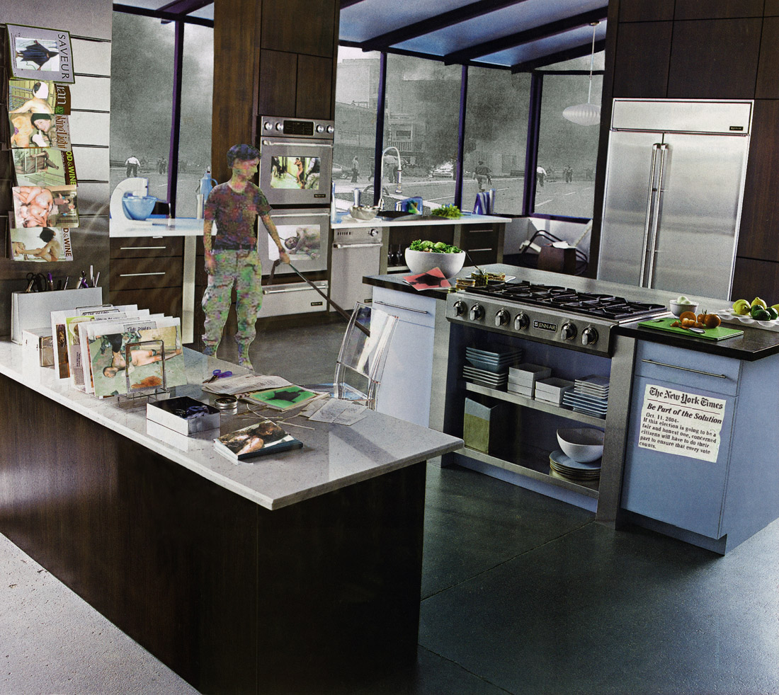 Images of soldiers and war are juxtaposed with an image of an upscale domestic kitchen