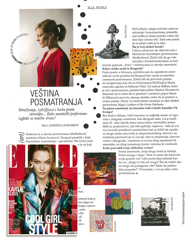 Page and small inset photo of a recent cover of Elle Serbia