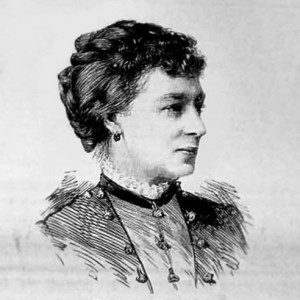 Black and white print of a Victorian woman in three-quarter profile