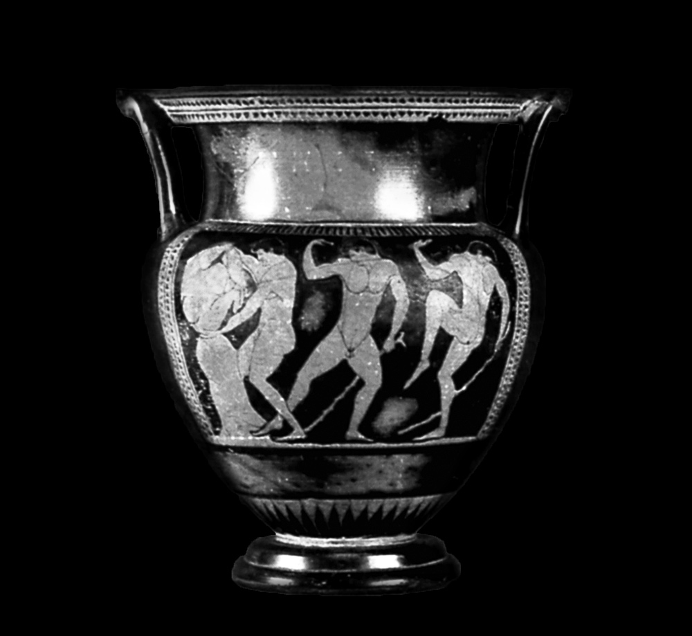 Black-and-white photo of an ancient Greek painted vase showing three men, including Sisyphus pushing a rock up a hill