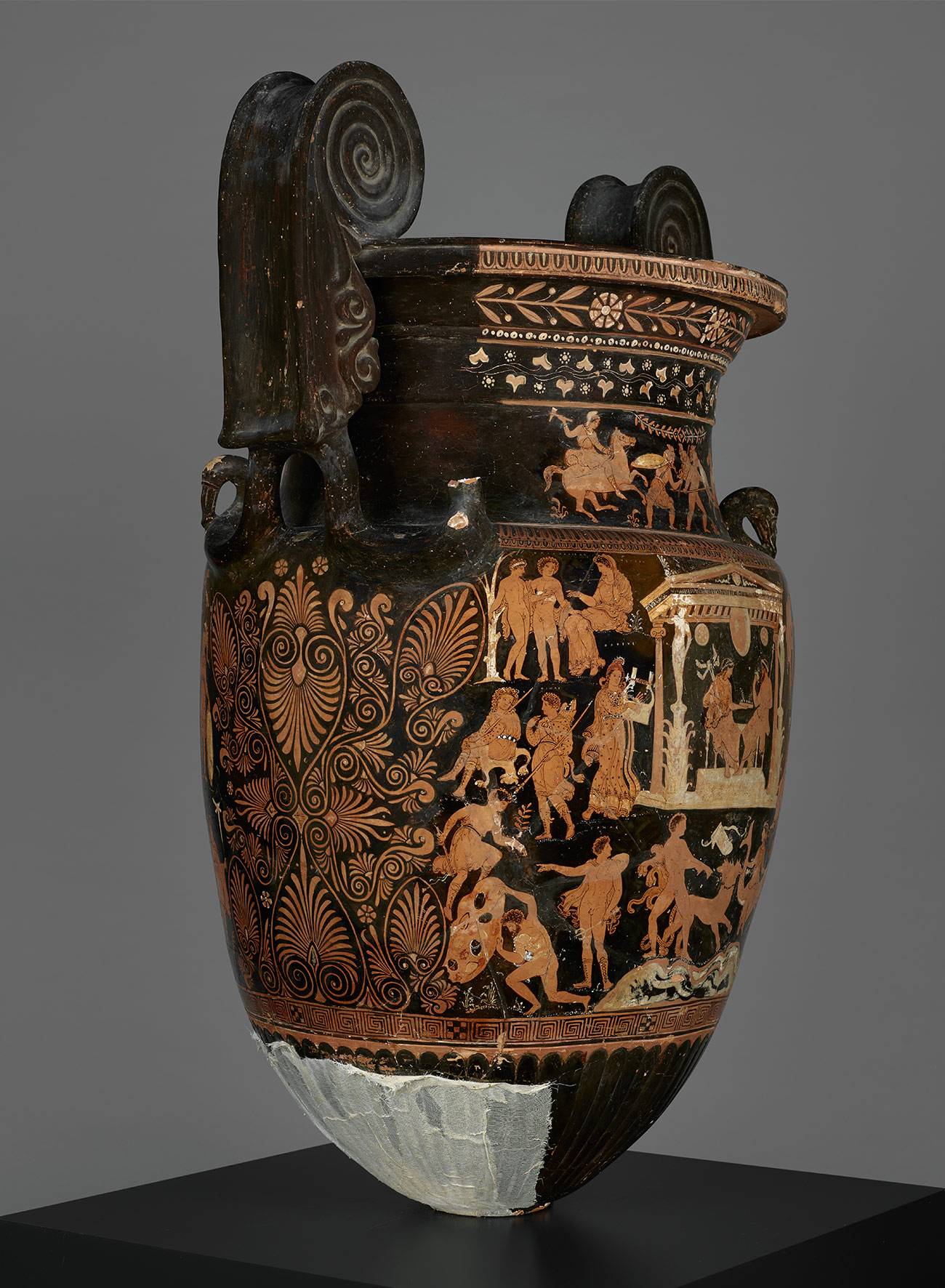 View of a large painted Greek vase with large handles showing scenes of the afterlife