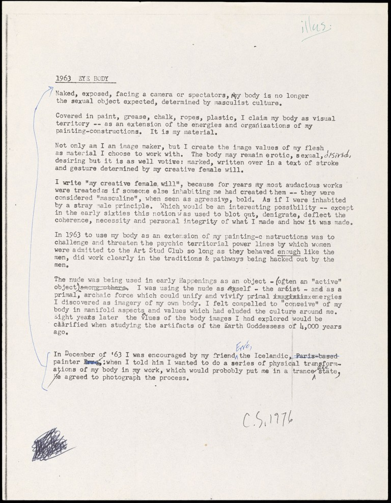 Typed letter by artist Carolee Schneemann