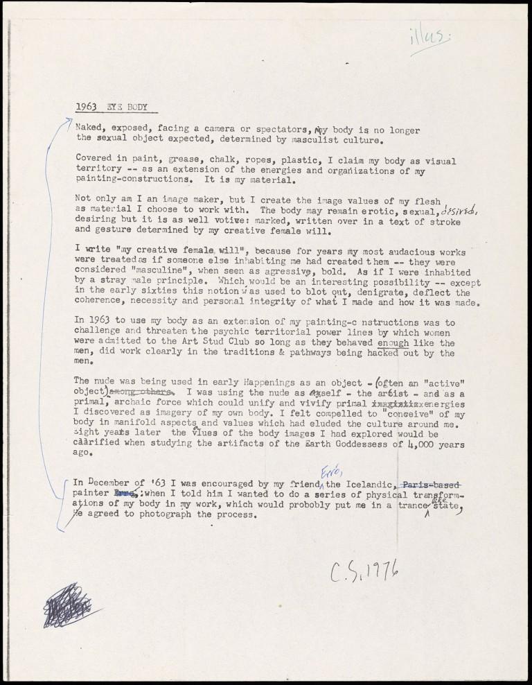 Typed letter by artist Carolee Schneemann