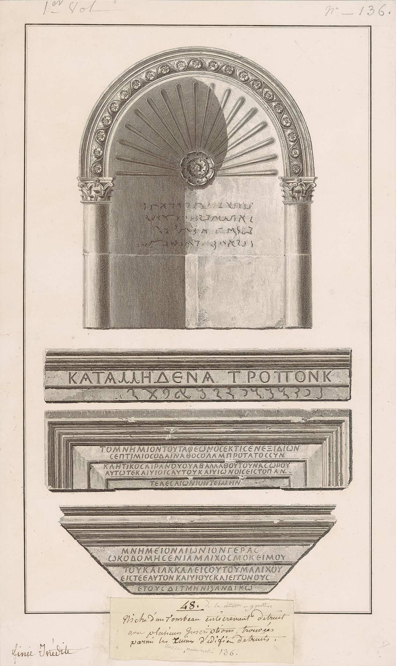 Etching of funerary monuments showing chiseled inscriptions in Greek and Palmyrene Aramaic