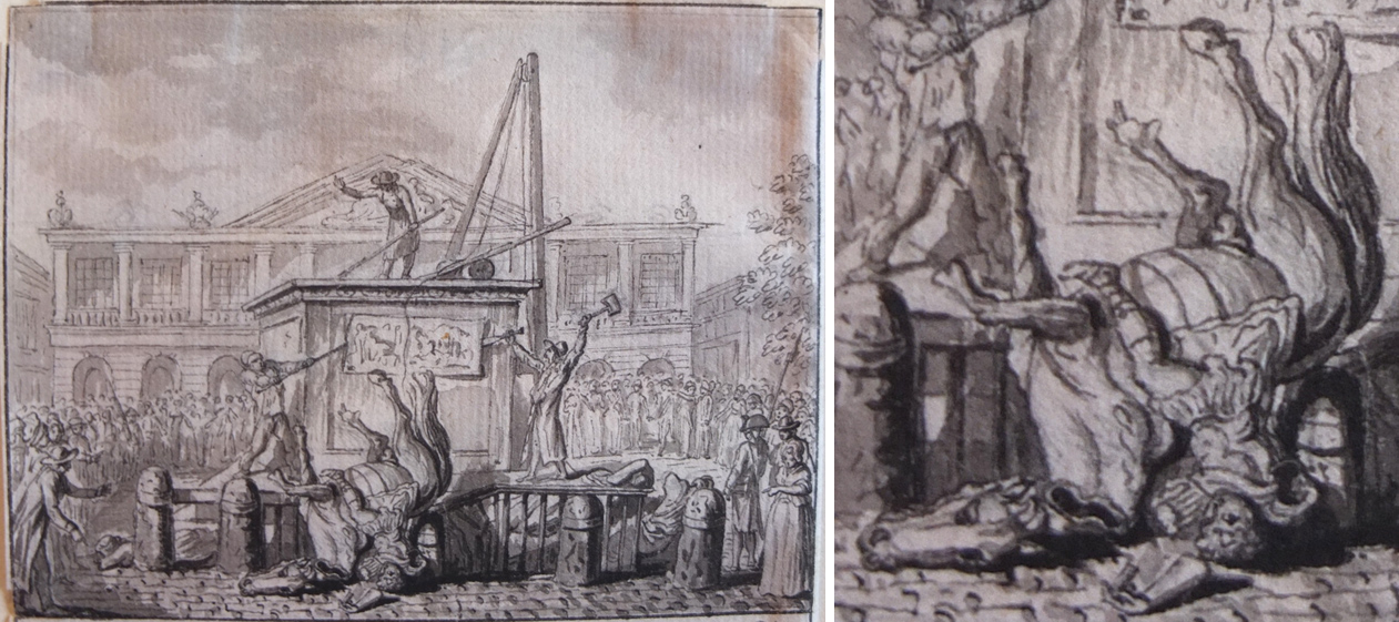 Pen and ink depiction of the toppling of a large bronze equestrian statue of Louis XV