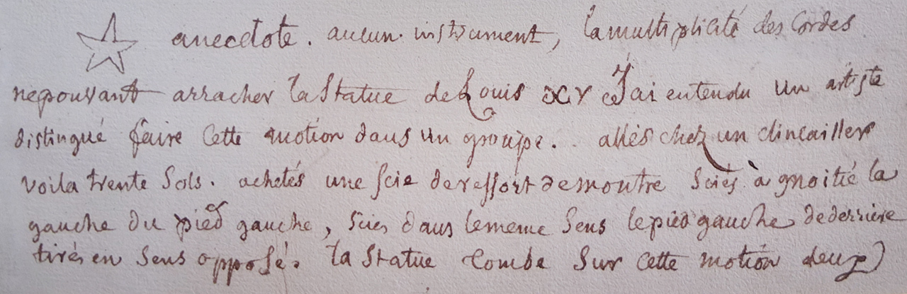 Pen and ink cursive writing in French