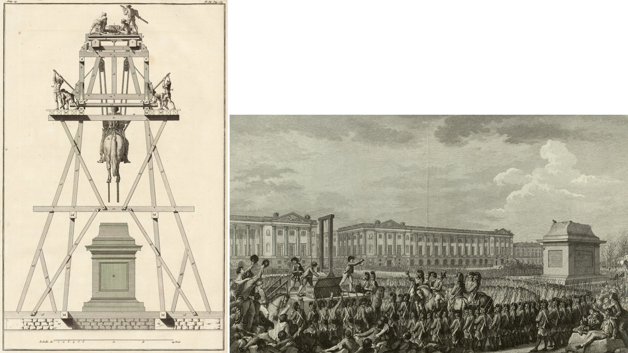 Side by side prints showing the installation of a large equestrian statue and its empty pedestal 30 years later