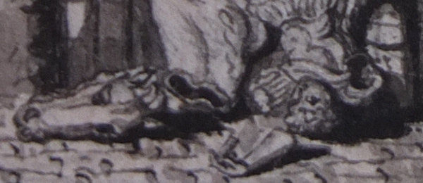 Detail of a pen-and-ink drawing showing the arm of a toppled bronze statue