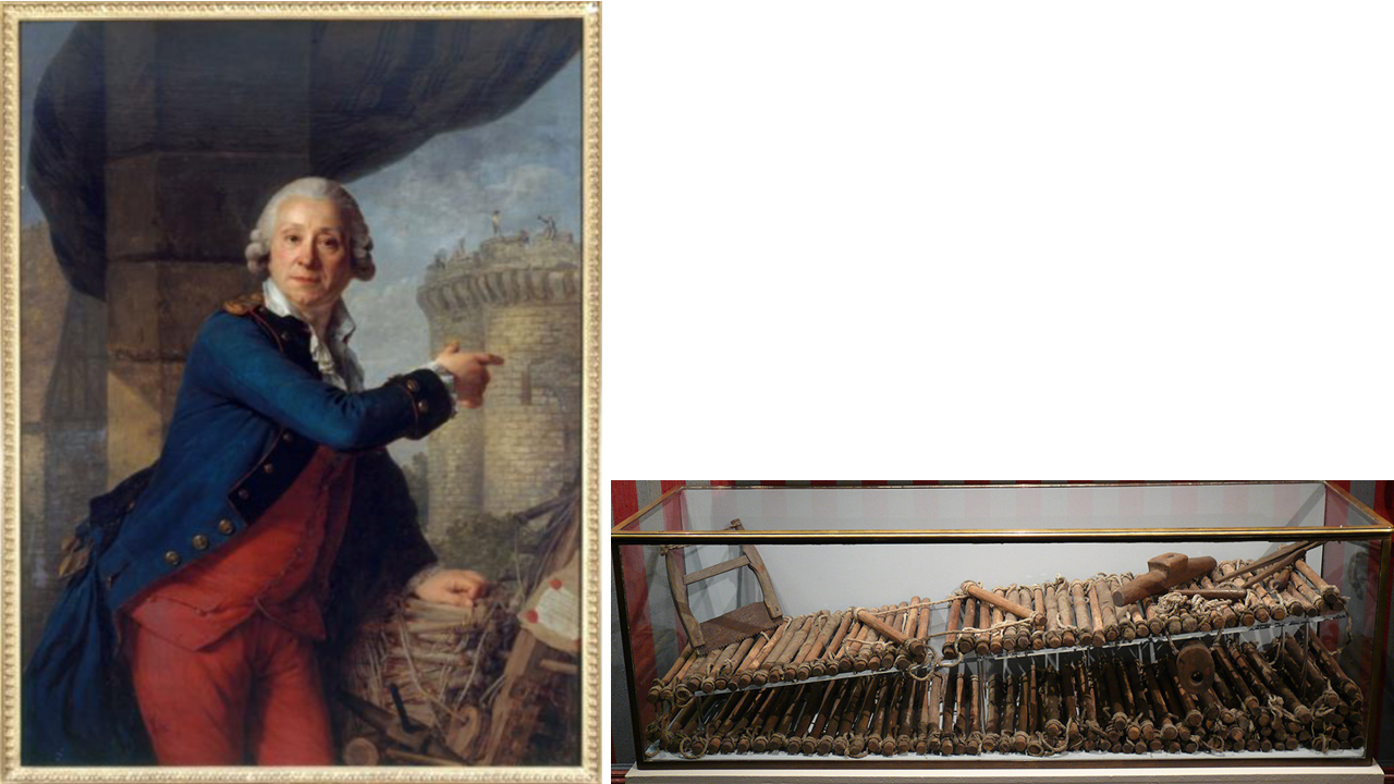 Portrait of a bewigged French man pointing to the Bastille prison, accompanied by a makeshift ladder made of branches