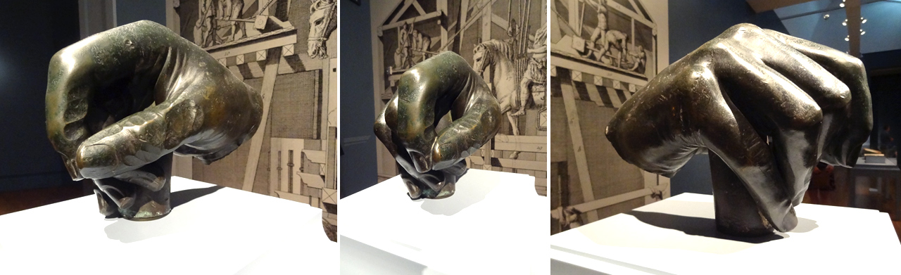 Collage of three images showing a large bronze hand from a statue of Louis XV