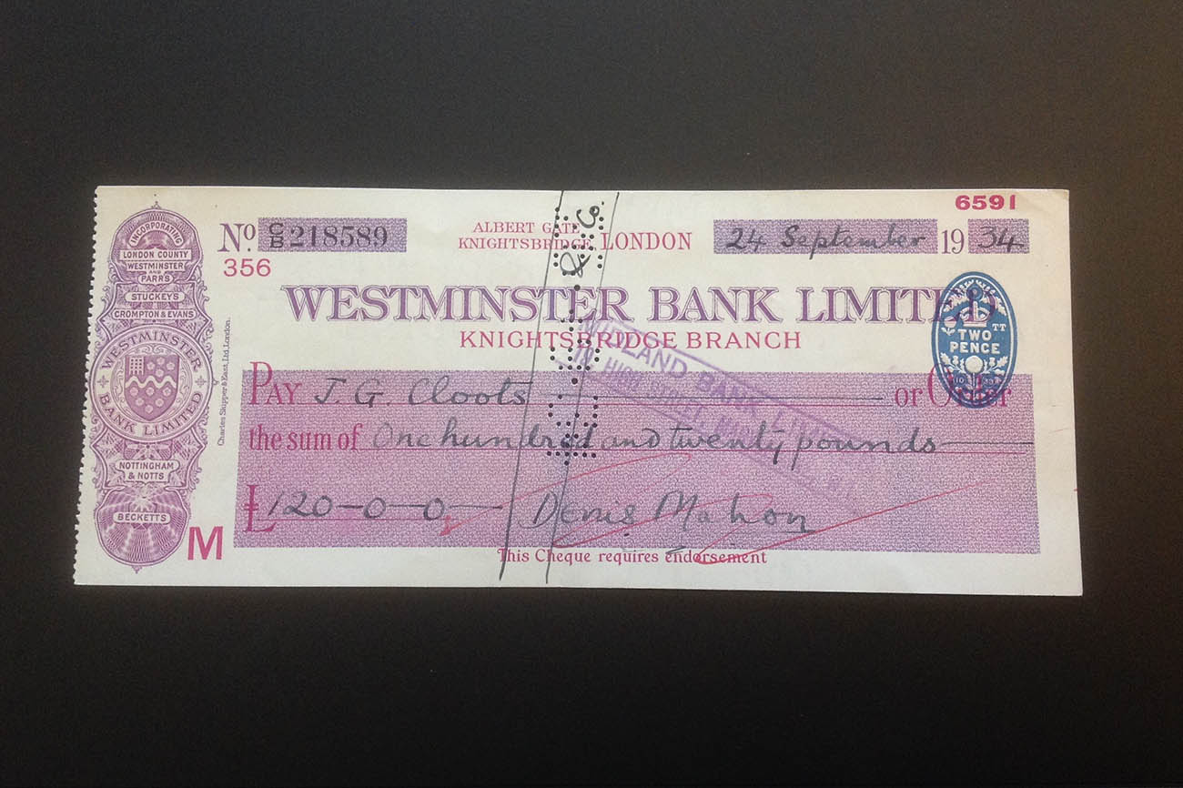 Denis Mahon's original check