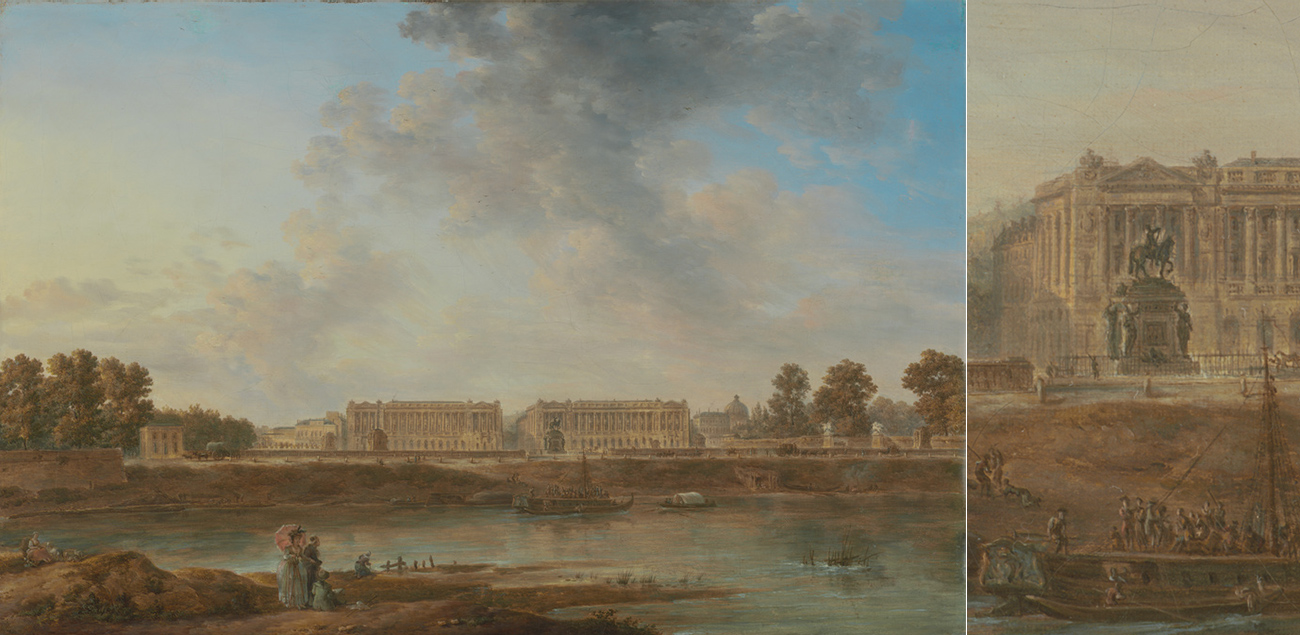 Oil painting of Paris in the 1700s showing the Seine, a sky with clouds, and palaces