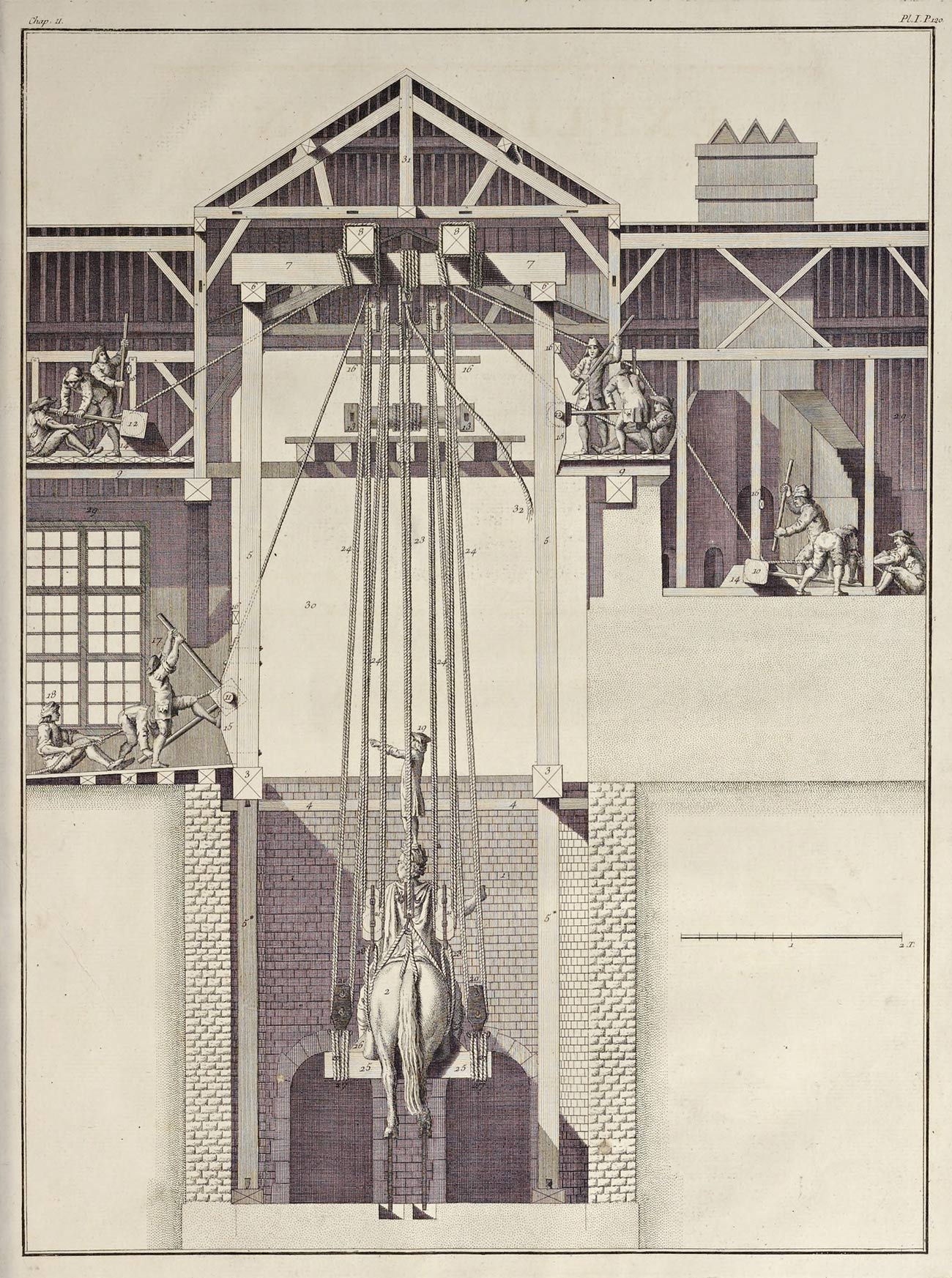 Detailed print showing a large bronze sculpture being hoisted with ropes out of a foundry pit where it had been cast
