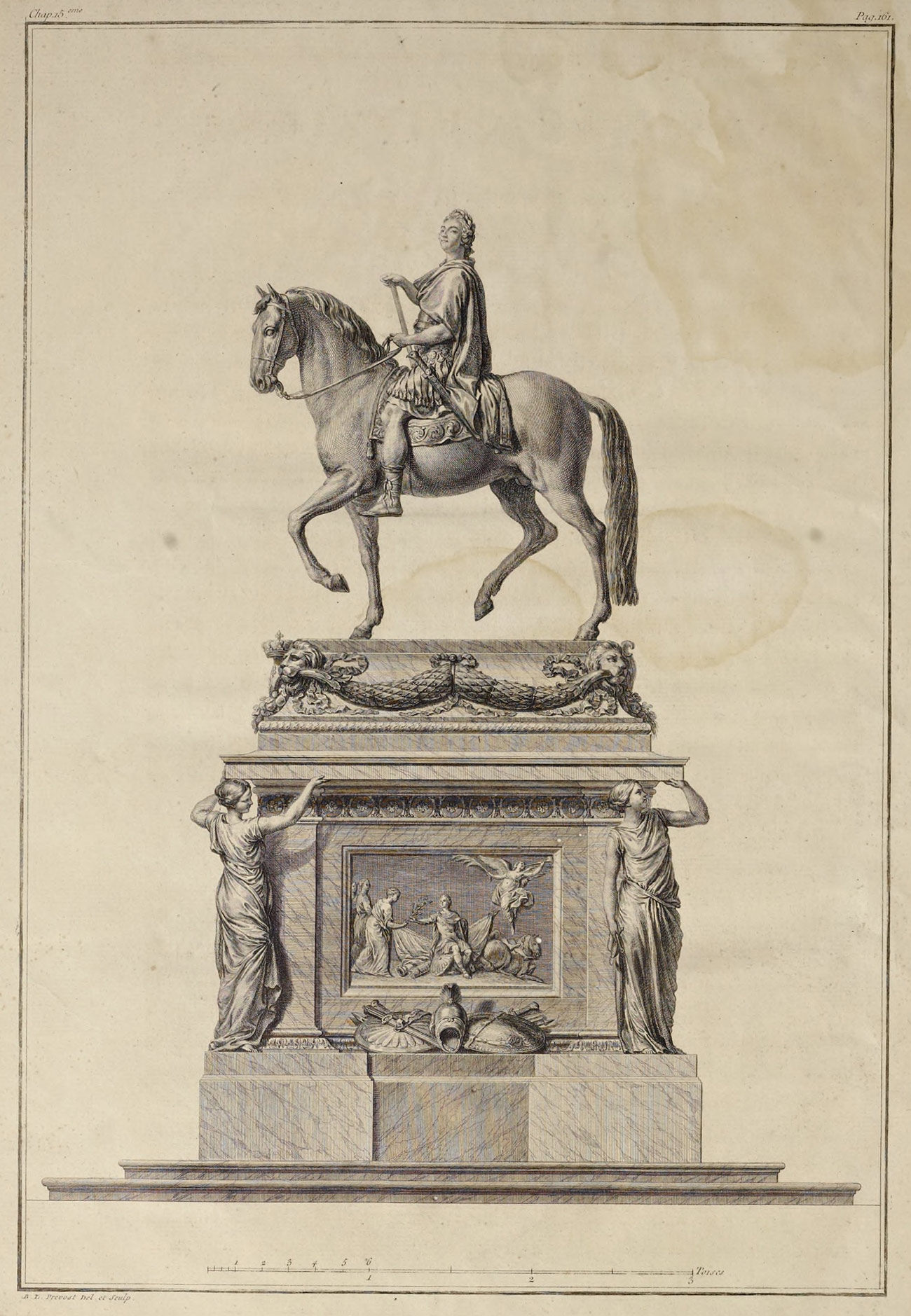 Detailed print of a large bronze statue of Louis XV on a horse, with an elaborate pedestal
