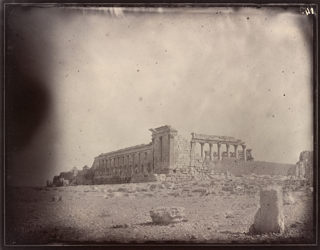 Temple of Bel, southwest exterior corner of the courtyard, 1864, Louis Vignes. Albumen print. 8.8 x 11.4 in. The Getty Research Institute, 2015.R.15