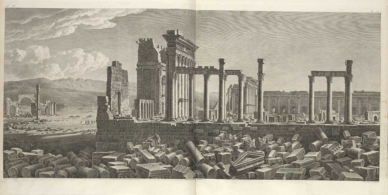 Temple of Bel, 1799, Lepagelet and Pierre Gabriel Berthault after Louis-François Cassas. Etching, 11.8 x 18.5 in. The Getty Research Institute, 840011