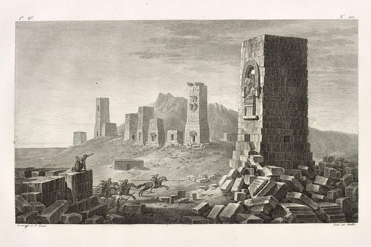 Valley of the Tombs, Charles François Le Tellier after Louis-François Cassas. From Voyage pittoresque de la Syrie, de la Phoénicie, de la Palestine, et de la Basse Egypte (Paris, ca. 1799), vol. 1, pl. 101., Etching. Platemark: 12.9 x 18.3 in. The Getty Research Institute, 840011