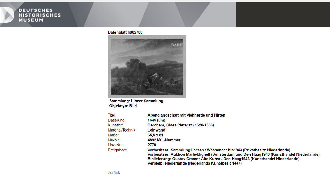 Linz database record for Berchem painting