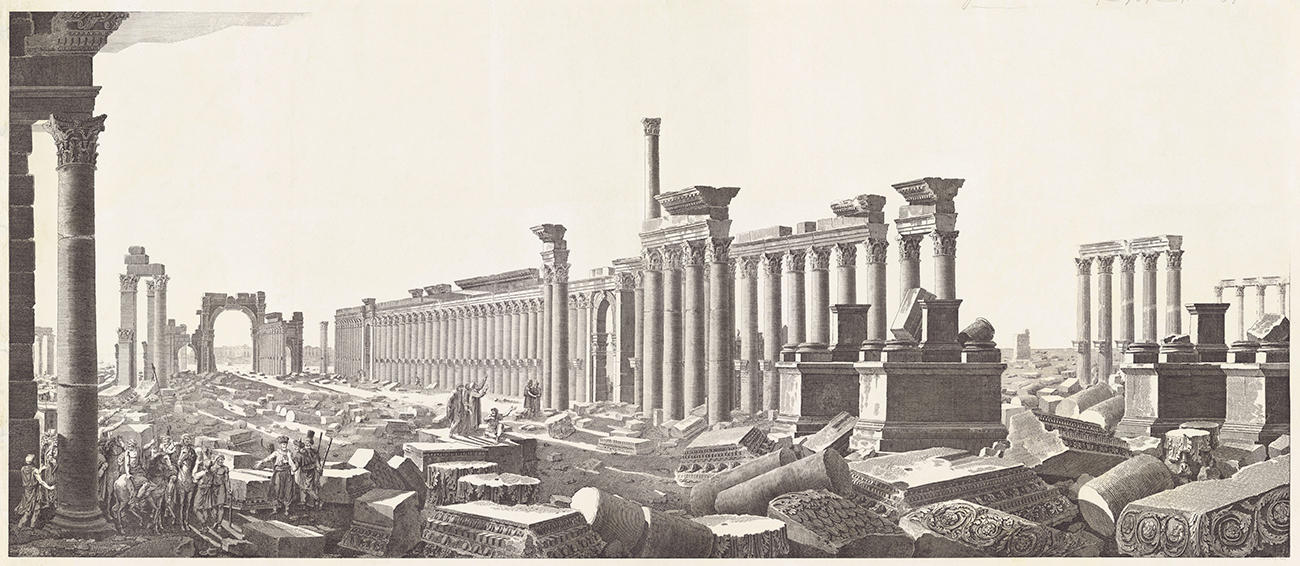 Colonnade Street featuring bases of Tetrapylon in foreground, ca. 1799, anonymous artist after Louis-François Cassas. Proof-plate etching. 35.8 x 16.9 in. The Getty Research Institute, 840011