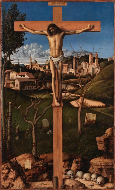 <em/>Crucifixion, about 1495–1500, Giovanni Bellini. Tempera (?) and oil on wood panel.
