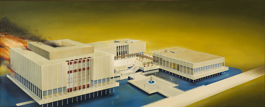 The Los Angeles County Museum on Fire, 1965–68, Ed Ruscha.