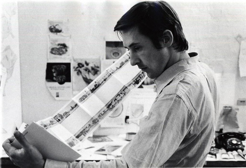 "Ed Ruscha holding ""Every Builging on the Sunset Strip"""