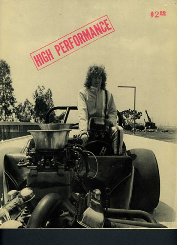 Cover of High Performance issue no. 1 featuring Suzanne Lacy's Cinderalla in a Dragster (1976), 1978.