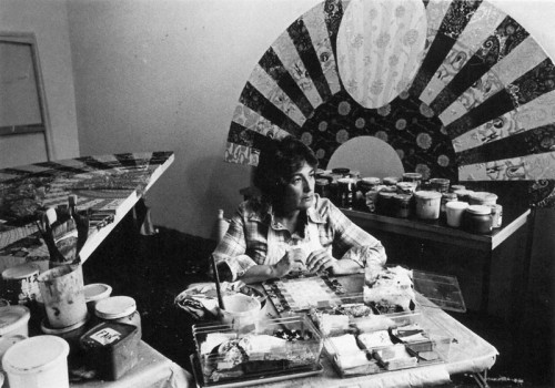 Miriam Schapiro in the studio, 1980. Courtesy Flomenhaft Gallery