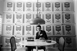 Irving Blum with Warhol's Campbell's Soup Cans