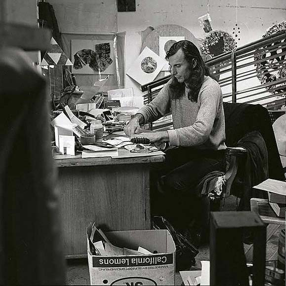 George Herms in his studio