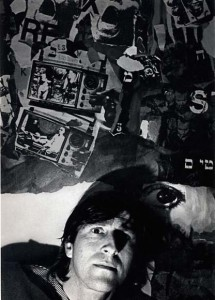 Wallace Berman with one of his collages