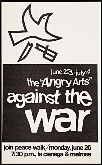 "Poster for the ""Angry Arts"" Against the War Peace Walk"