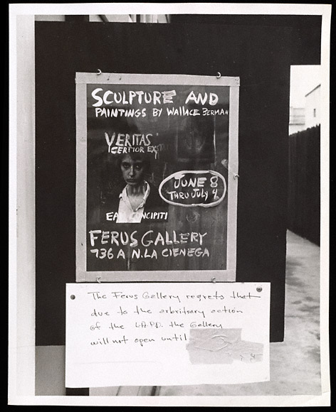 Temporary closure sign at Ferus Gallery