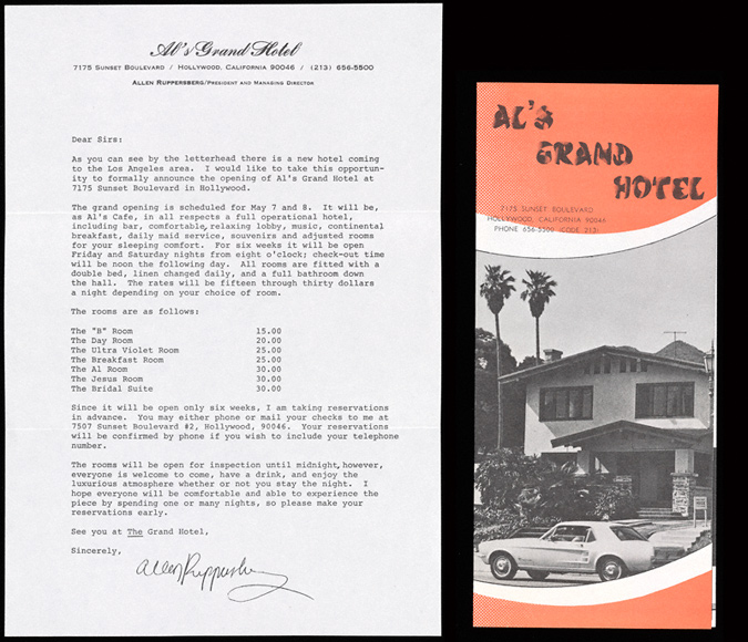 Letter and brochure for Al's Grand Hotel