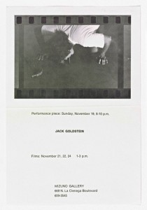 Announcement, Jack Goldstein at Mizuno Gallery