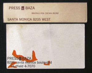 Business cards from Press Baz