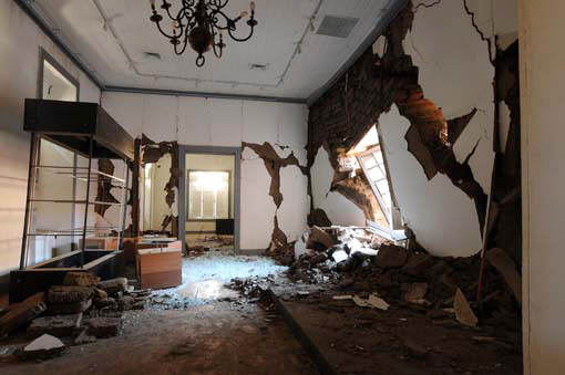 Earthquake damage at the Museo de Bellas Artes de Talca, Chile. Photo: Jorge Sacaan Riadi