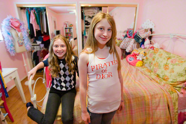 Kids + money: Megan, 11, and Ashley, 13, at their Calabasas home. Photograph by Lauren Greenfield/ INSTITUTE