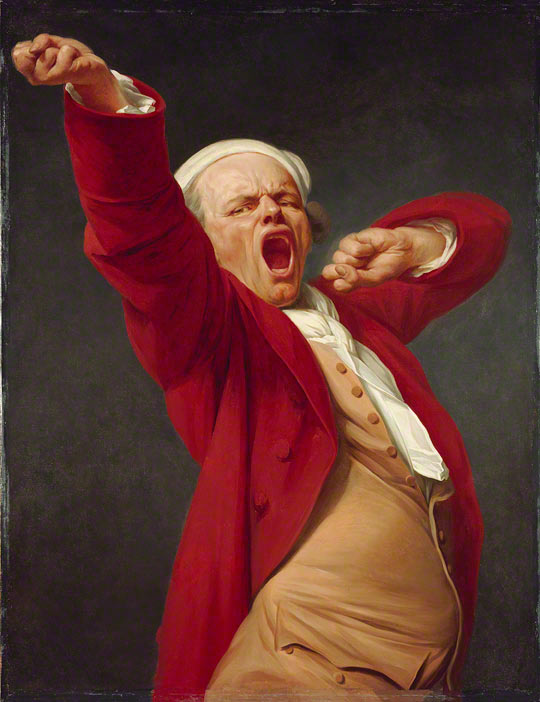Self-Portrait, Yawning, Joseph Ducreux, before 1783. Oil on canvas, 45 x 35 in.