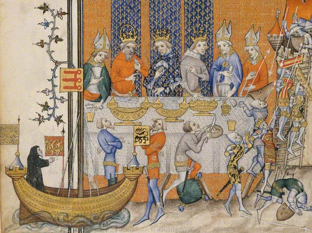 The Performance of a Crusade Play at King Charles V's Feast (detail), Master of the Coronation of Charles VI, Paris, about 1375–80. From Great Chronicles of France (Grandes chroniques de France). Bibliothèque nationale de France, Paris. Ms. fr. 2813, fol. 473v