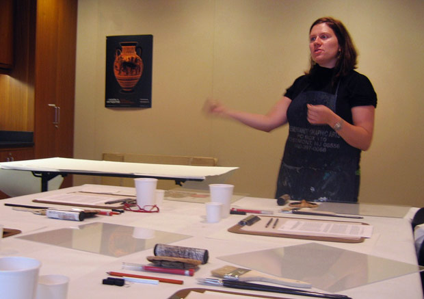 Artist and drawing enthusiast Jaime Ursic gives a lesson in the Education Studio at the Getty Villa.