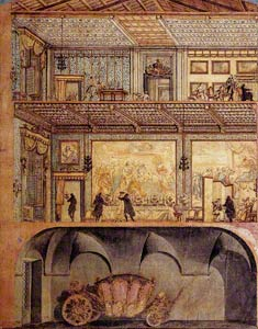 Section of a Palace with Carriage, Andrea Francesco Nicoletti, 1709 (?), pen and black ink with watercolor. Gabinetto Comunale delle Stampe, Rome