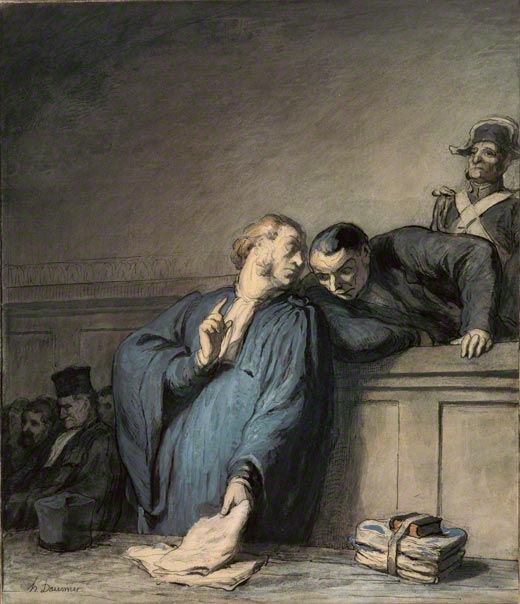 The French judicial system on trial: A Criminal Case, Honoré Daumier, 1865. The J. Paul Getty Museum, 89.GA.33