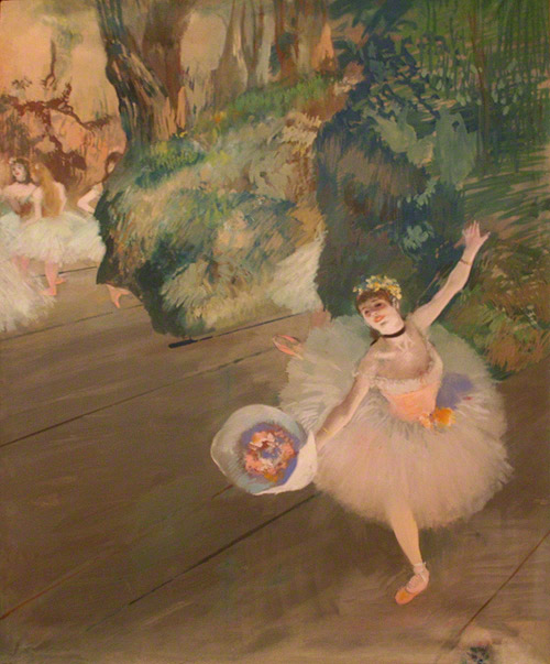 Dancer Taking a Bow (The Prima Ballerina), Edgar Degas, pastel and gouache on paper, 33 1/2 x 27 in. (85.1 x 68.6 cm). Private collection