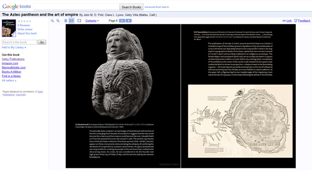 Sample of a Getty Publications title on Google Books: The Aztec Pantheon and the Art of Empire