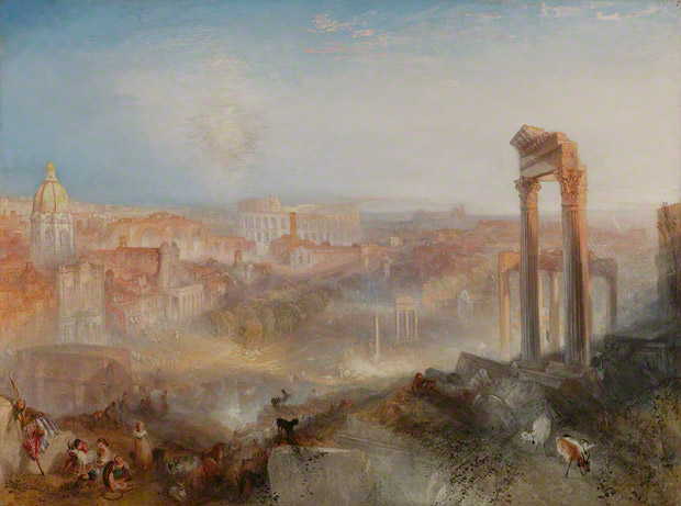 Modern Rome–Campo Vaccino, Joseph Mallord William Turner (English, 1775–1851), 1839. Oil on canvas, 36 1/8 x 48 1/4 in. (unframed), 48 1/4 x 60 3/8 x 4 3/8 in. (framed). The J. Paul Getty Museum, 2011.6