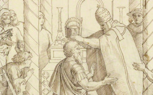 The Coronation of Charlemagne, Julius Schnorr von Carolsfeld, 1840. Brown ink over graphite on paper. The J. Paul Getty Museum, 2009.5