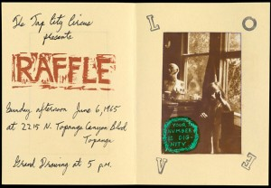 "Announcement for ""Raffle,"" a Tap City Circus raffle in Los Angeles, June 6, 1965. Designed by George Herms"